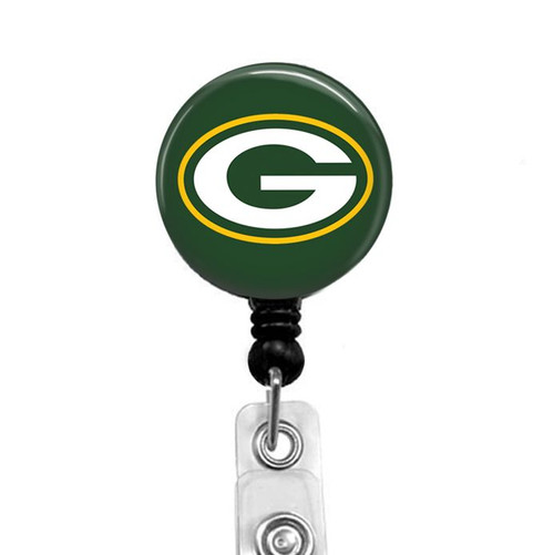 Green Bay Packers on black badge reel from Badge Reel Boutique