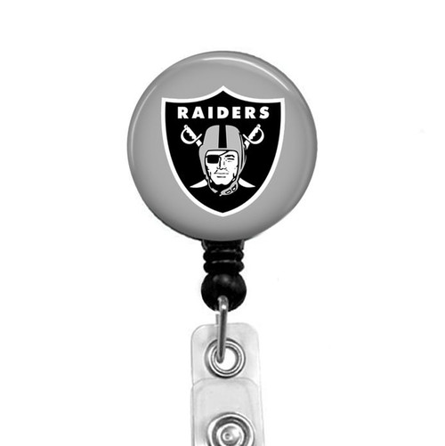 Oakland Raiders on black badge reel from Badge Reel Boutique