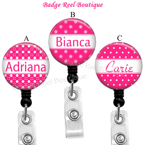 Bold Pink and White Personalized Badge Reels