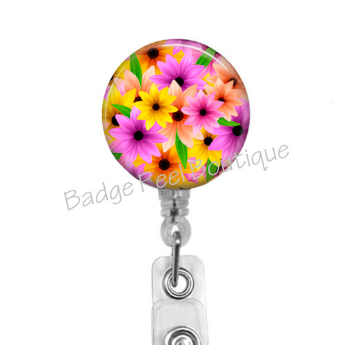 Springtime Flowers Retractable Badge Reel