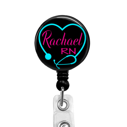 Stethoscope Heart Badge Reel for RN, P1