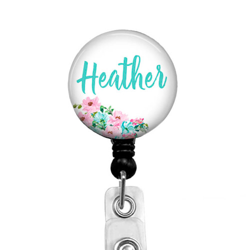 Badge reel from Badge Reel Boutique with pink and teal flowers, 600M