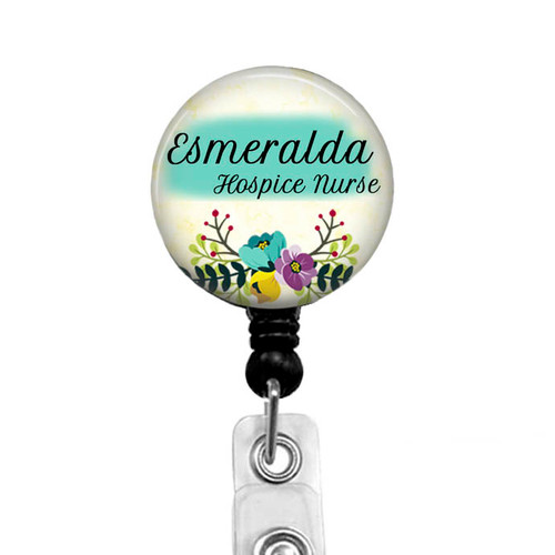 Teal, purple, and yellow floral black badge reel from BadgeReelBoutique.com