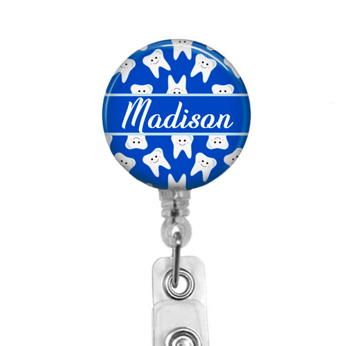 Dental name badge on clear reel by Badge Reel Boutique