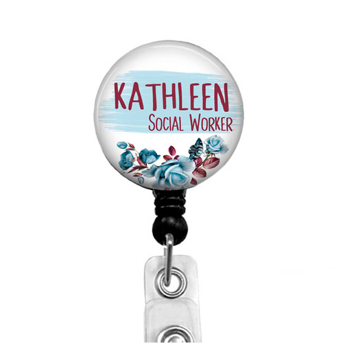 Blue floral on black badge reel for social worker by Badge Reel Boutique