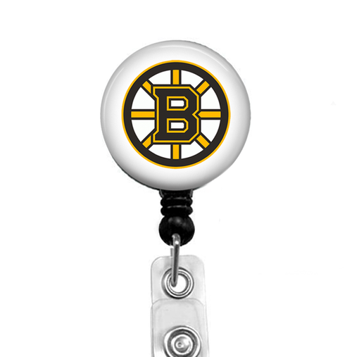 Boston Bruins –black badge reel with White Background by Badge Reel Boutique