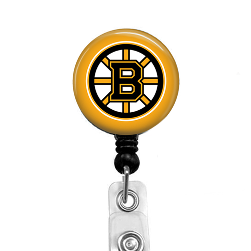 Boston Bruins –black badge reel with Yellow Gold Background by Badge Reel Boutique
