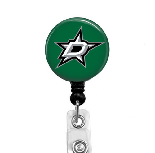 Dallas Stars on black badge reel by Badge Reel Boutique
