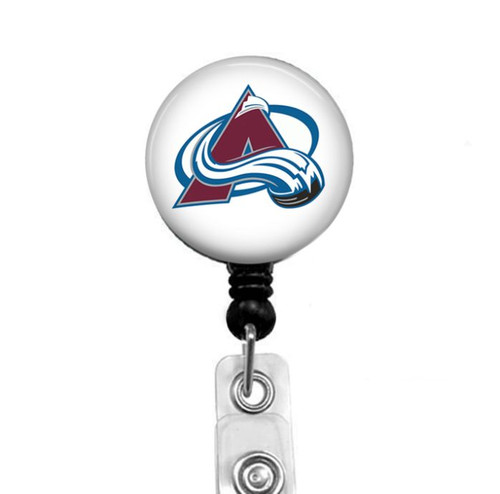 Colorado Avalanche on black badge reel by Badge Reel Boutique