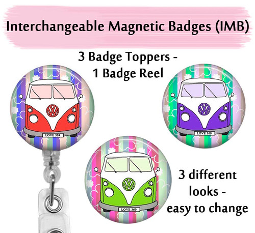 VW badge reel with swappable toppers on clear reel by Bade Reel Boutique