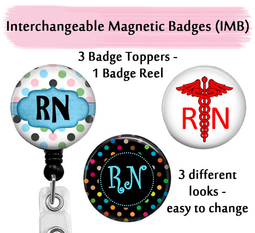 RN badge reel with swappable toppers on clear reel by Bade Reel Boutique