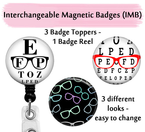 Optometrist badge reel with swappable toppers on black reel by Bade Reel Boutique