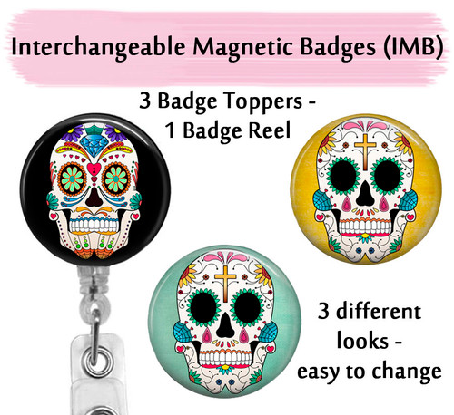 Sugar skulls badge reel with swappable tops on clear reel by Bade Reel Boutique