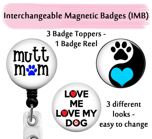 Dog Lovers badge reel with swappable tops on black reel by Bade Reel Boutique