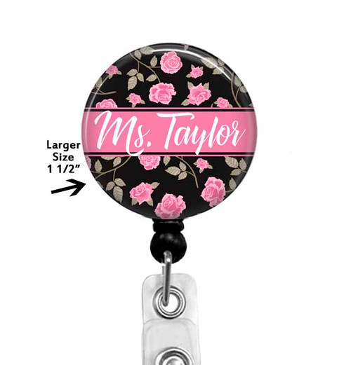 Personalized Floral Badge Reel