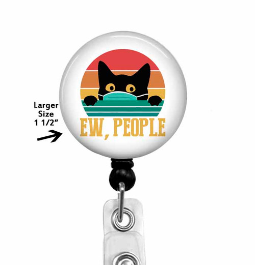 EW, People Cat Wearing a Mask Badge Reel Holder - Stethoscope Tag - Carabiner - Lanyard