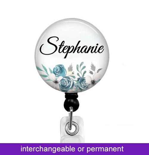 Changeable floral badge reel