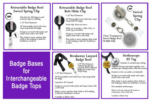 Badge bases for interchangeable badge tops