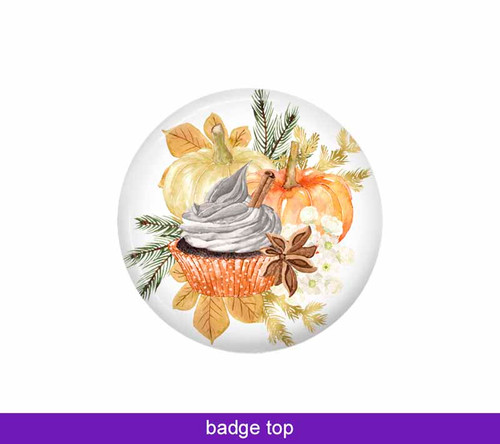 Pumpkin spice badge topper to go with Badge Reel Boutique's interchangeable badge system.