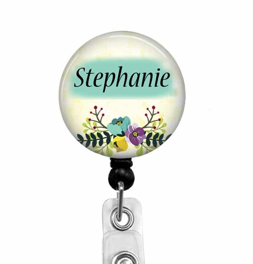 Retractable ID Badge Reel With Name and Flowers