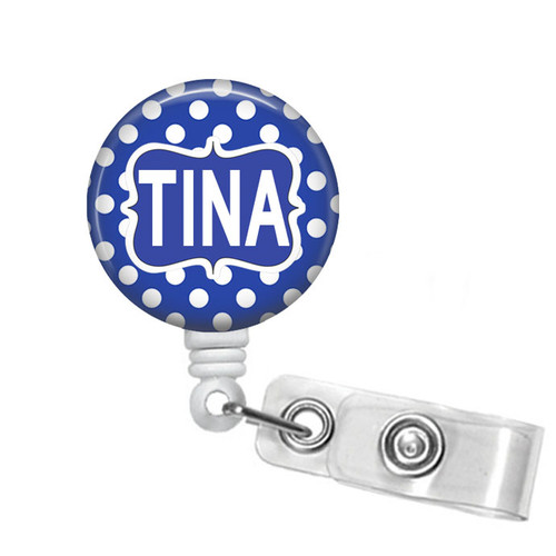 Blue with White Polka Dots Personalized Badge Reel