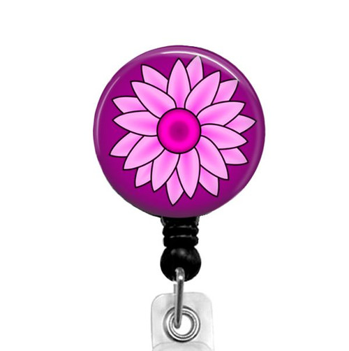 Pink Floral Retractable Badge Reel