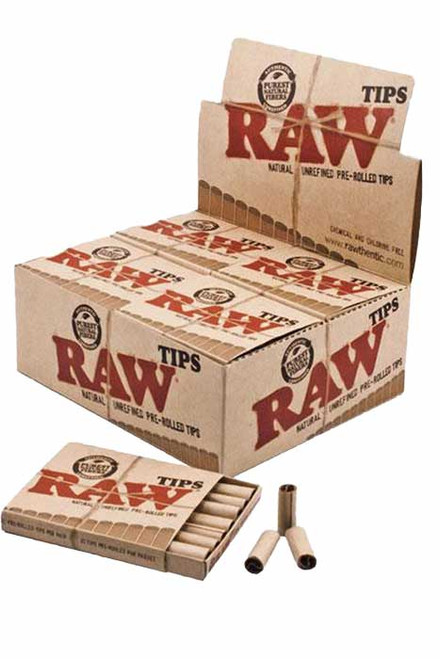 RAW - 20PC DISPLAY - Raw Pre-Rolled Tip (21 Tips Per Pack)