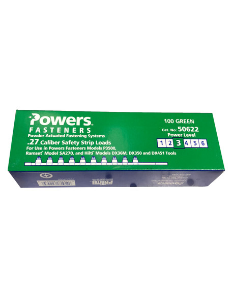 Powers Fasteners 50622 Green Shot 27CAL Strip