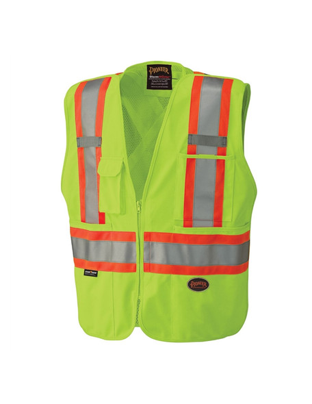 Pioneer 6936 V1021260 Hi-Viz Safety Tear-Away Mesh Back Vest - Yellow/Green