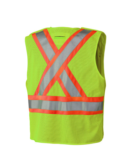 Hi-Viz Safety Tear-Away Mesh Back Vest - Yellow/Green
