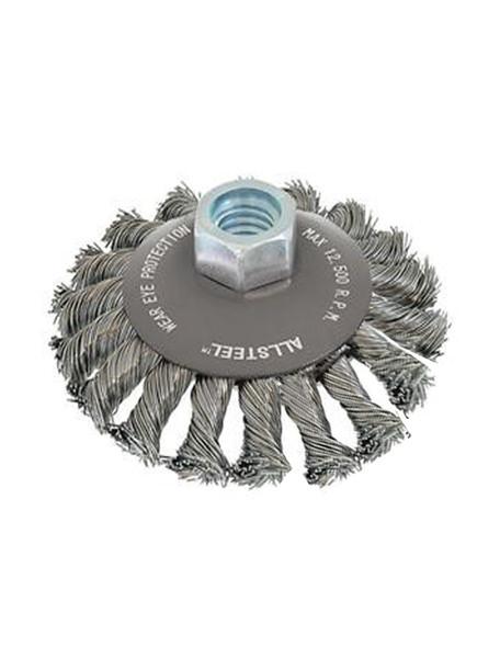 """Walter 13W541 ALLSTEEL Wire Brush Knot Twist Saucer 5"""" Steel"""