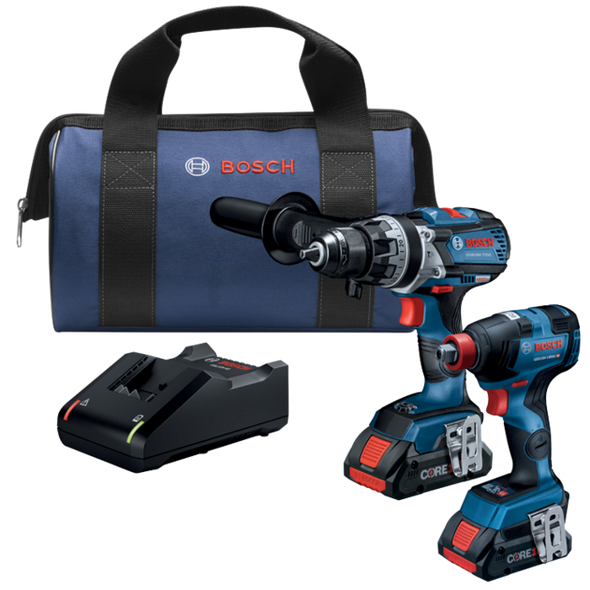 """Bosch 18V 2-Tool Combo Kit with Freak 1/4"""" and 1/2"""" Two-In-One Bit/Socket Impact Driver and Brute Tough 1/2"""" Hammer Drill/Drive"""