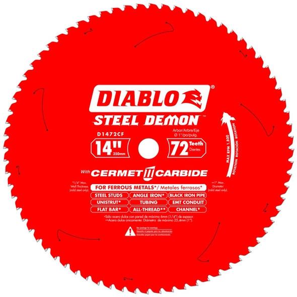 """Diablo D1472CF 14"""" 72 Tooth Cermet II Metal Cutting Saw Blades"""