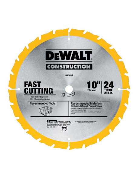DeWalt DW3112 10-Inch 24T Construction Fast Ripping Saw Blade