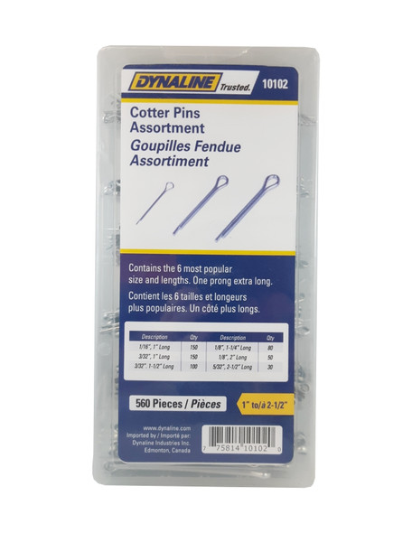 Dynaline 10102 ASSORTMENT COTTER PIN 560 Pieces/ 6 Sizes