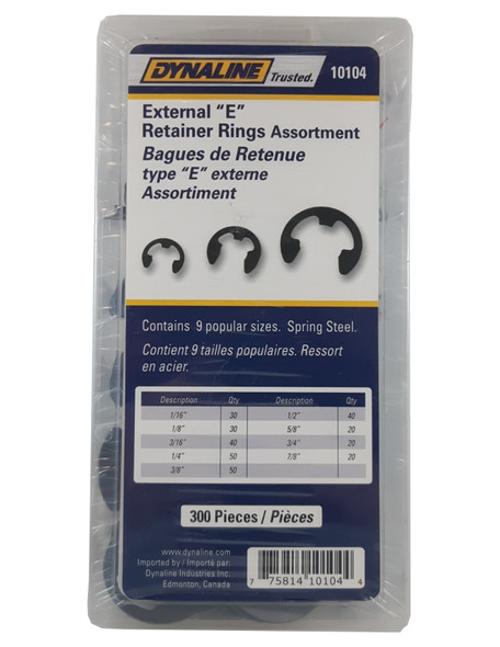 Dynaline 10104 E Retainer Ring Assortment 300 Pieces/9 Sizes