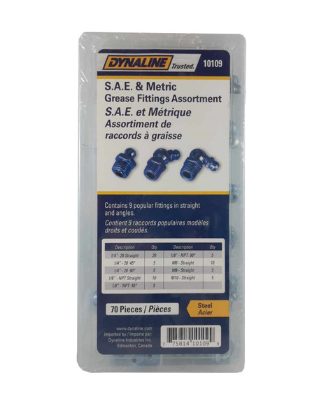 Dyanline 10109 Grease Fitting Assortment 70 Pieces/9 Sizes