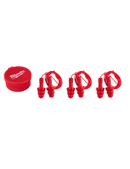 Milwaukee 48-73-3151 Reusable Corded Ear Plugs - 3 Pairs