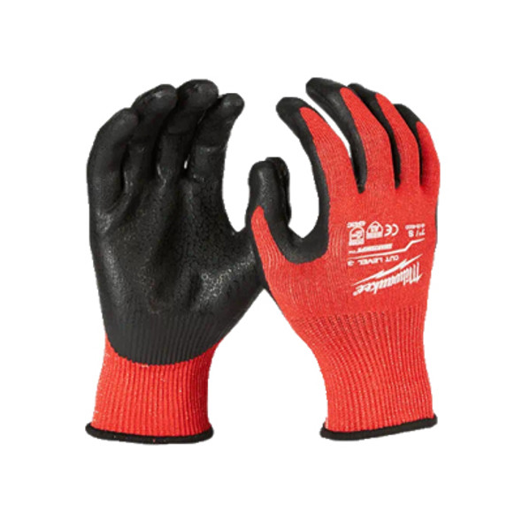 Front & Back view of Milwaukee Cut Level 3 Nitrile Dipped Gloves
