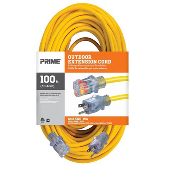 100ft 12/3 SJTW Jobsite Outdoor Extension Cord (Front View)