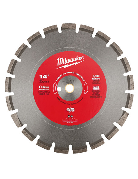 """Milwaukee 14"""" Asphalt & Green Concrete Segmented Blade.  Designed to be used Wet or Dry"""