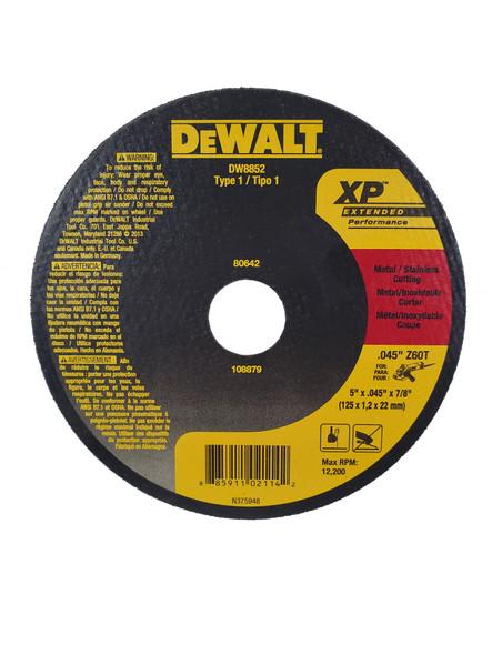 "DEWALT XP Cutoff Wheel 5"" X .045"" X 7/8"" Metal/Stainless Steel Cutting"