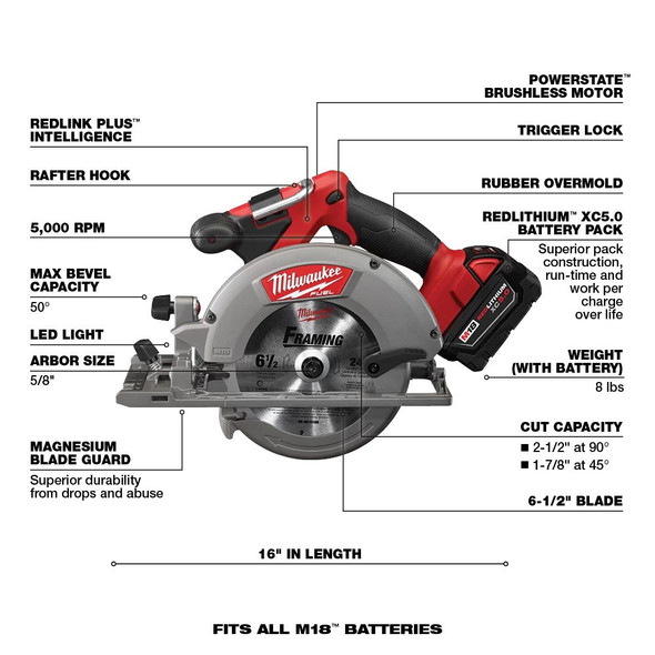 2730-20 POWERSTATE Brushless Motor: Out Powers all other 18-volt cordless circular saws and provides up to 3X longer tool life.