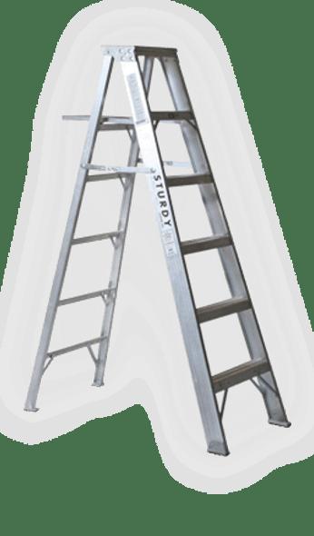 Sturdy  12' Aluminum Step Ladder - Extra Heavy Duty