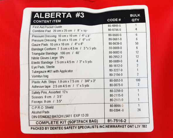 Dentec 81-7516-2 Number 3 Alberta First Aid Kit Nylon Pouch