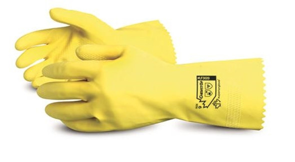Superior Glove LF3020-9 Chemstop Yellow Flock-Lined Latex Chemical-Resistant Glove