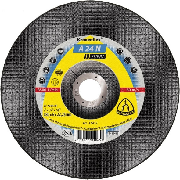 "Klingspor 2922 5"" x 1/4"" x 7/8"" Kronenflex A24N Grinding Disc"