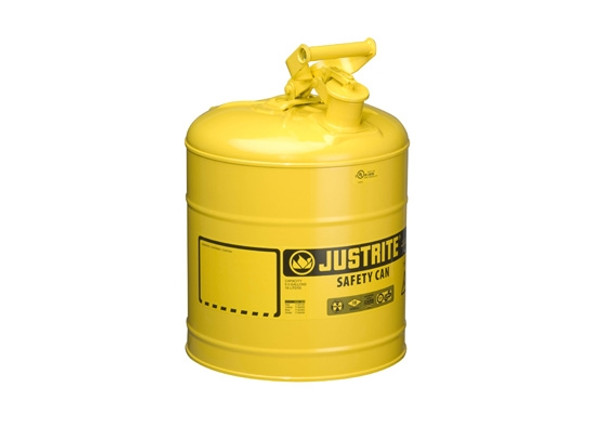 Justrite 7150200, 5 Gallon Yellow Steel Safety Can