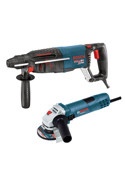 "Bosch 11255VSR-GWS8 1"" Rotary Hammer & 4 1/2"" Angle Grinder Combo"