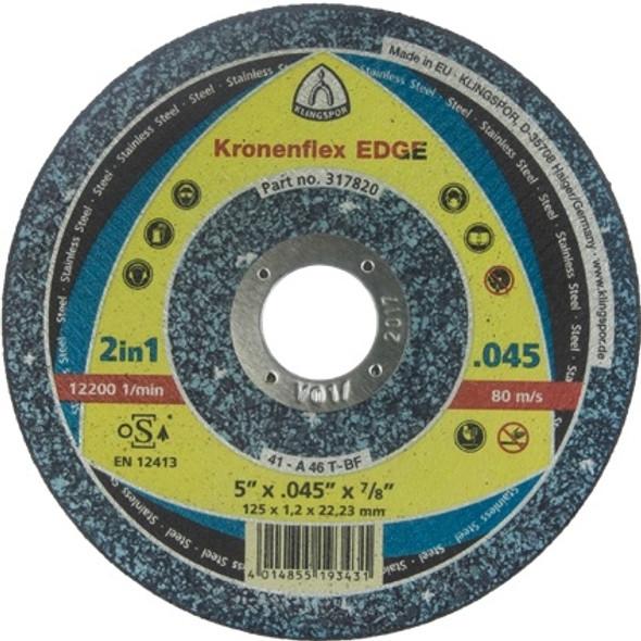 """Klingspor 317821 5"""" x .045"""" x 7/8"""" Kronenflex Edge Depressed Center Cutting Wheel"""